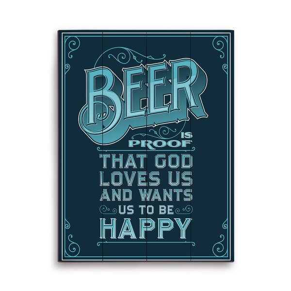 Beer Is Proof That God Loves Us Textual Art Plaque in Blue by Click Wall Art