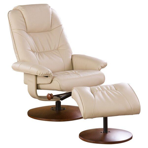 Fin City Manual Swivel Recliner with Ottoman by Re