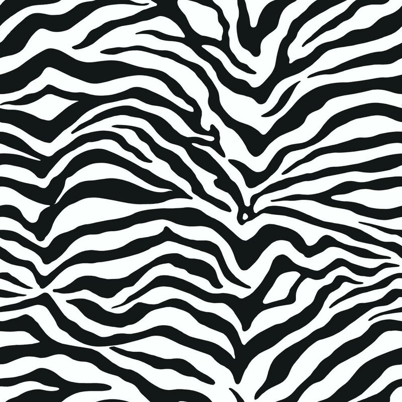 Black and white 33 x 20 5 zebra print wallpaper