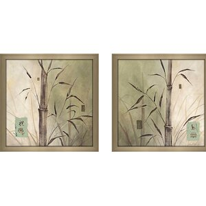 Bamboo Sanctuary' 2 Piece Framed Acrylic Painting Print Set Under Glass by World Menagerie