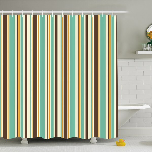 Striped Funk Art Nostalgic Lash Strokes with Earthen Tones Blow Fashion Graphic Shower Curtain Set by Ambesonne