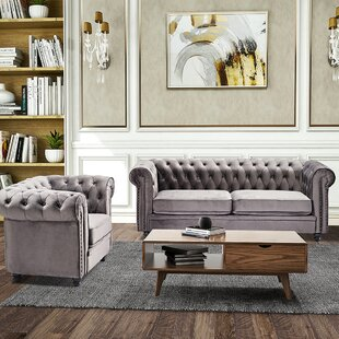 Classic Sofa 1-Seat Velvet Solid Wood Oak Feet by House of Hampton®