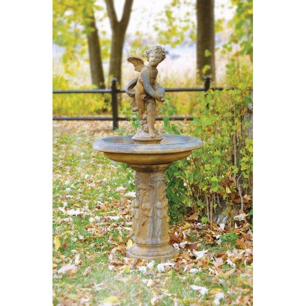 Fiber Stone Cupid Birdbath by OrlandiStatuary
