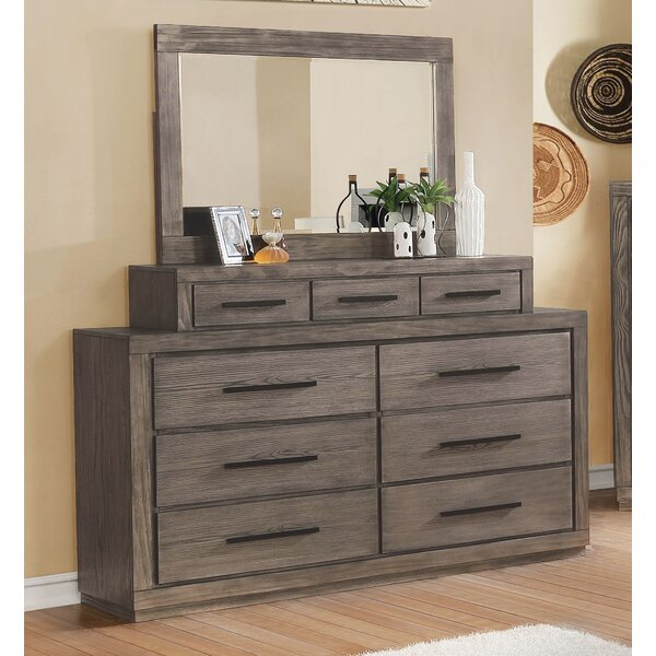 Mcmillen Weathered 9 Drawer Double Dresser with Mirror by Gracie Oaks