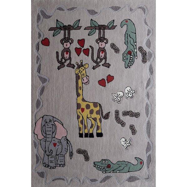 Haynie Animal Friends Hand-Tufted Gray Area Rug by Zoomie Kids