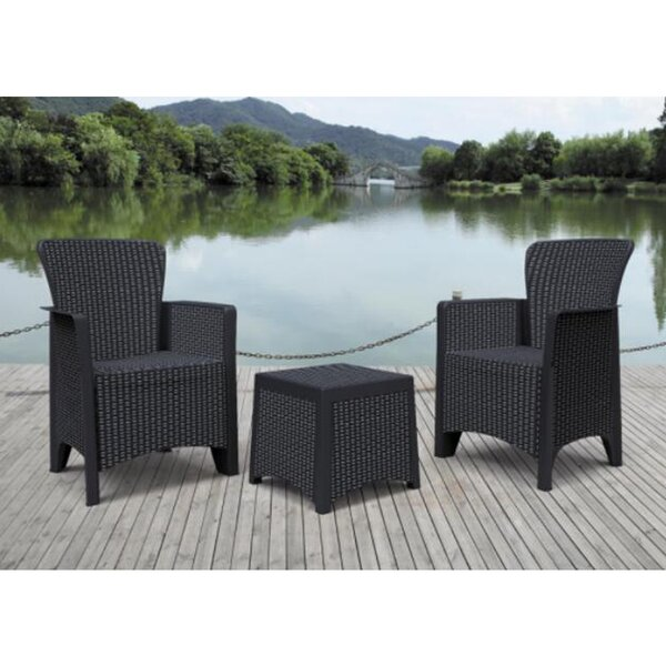 Dwight Furniture Indoor/Outdoor 3-Piece Rattan 2 Person Seating Group with Cushions by August Grove