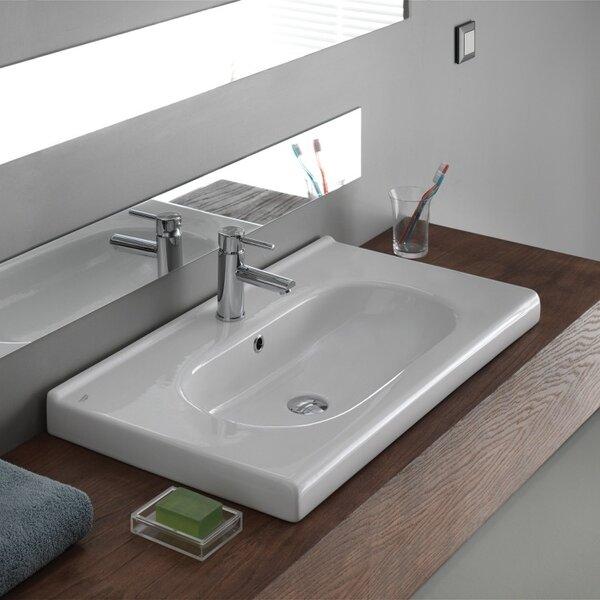 City Ceramic Rectangular Drop-In Bathroom Sink with Overflow