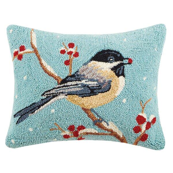 Chickadee Hook Wool Lumbar Pillow by Peking Handicraft