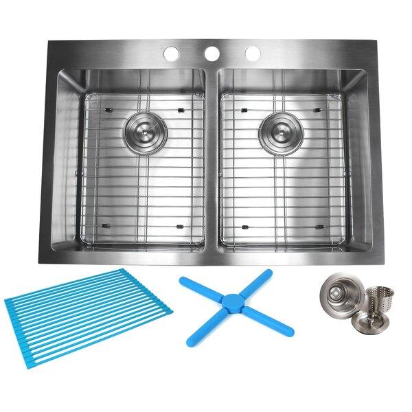 Ariel 33 L x 22 W Double Basin Drop-In Kitchen Sink with Bonus Accessories by eModern Decor