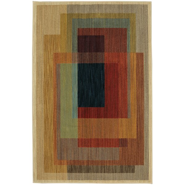 Timmons Illusion Brown/Red Area Rug by Red Barrel Studio