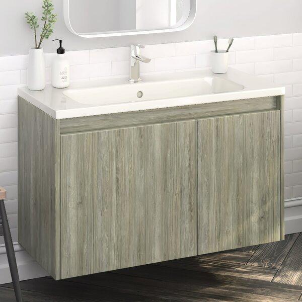 Gizi Modern 40 Wall-Mounted Single Bathroom Vanity Set