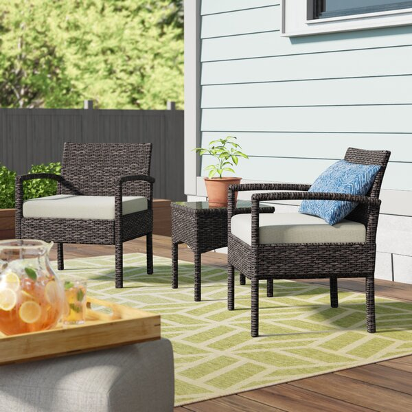 3 Piece Conversation Set with Cushions by Belleze