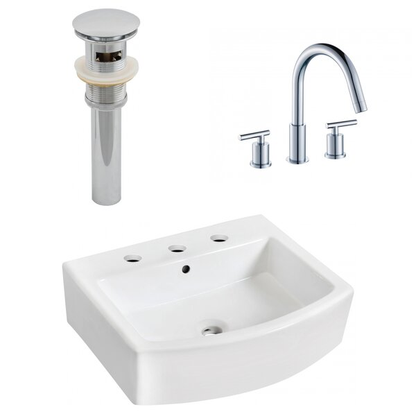Ceramic 22 Bathroom Sink with Faucet and Overflow