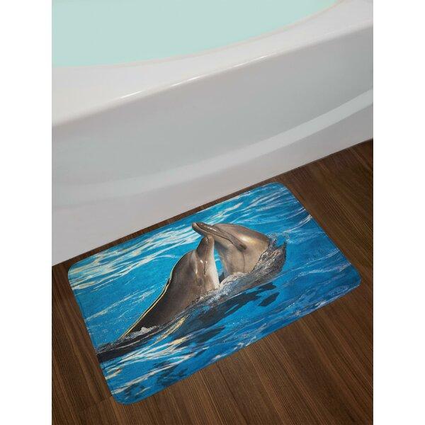 Aqua Dolphin Bath Rug by East Urban Home