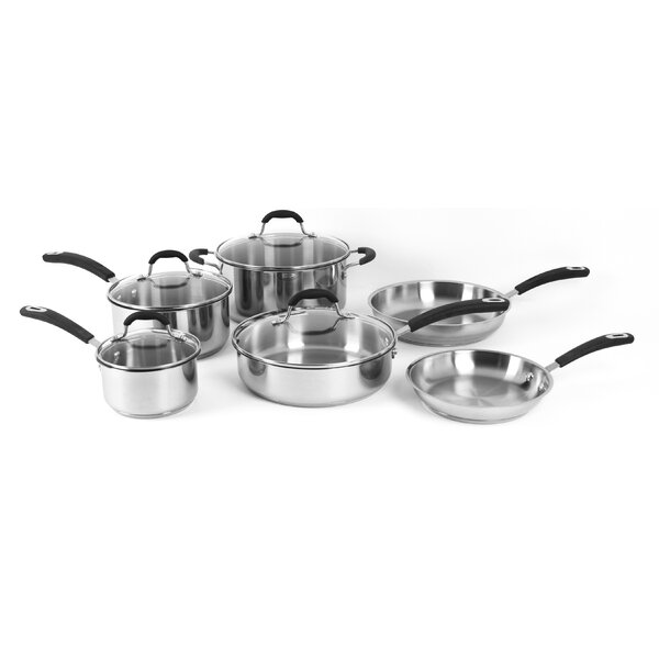 Prime 10-Piece Stainless Steel Cookware Set by Oneida