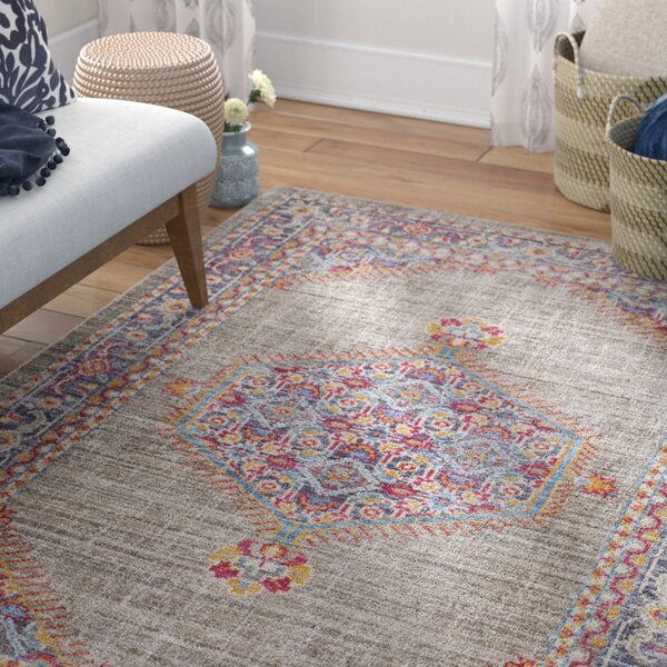 Fields Contemporary Violet/Taupe Area Rug by Mistana
