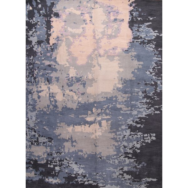 Aileen Moroccan Oriental Hand-Knotted Wool Gray/Blue Area Rug by Bungalow Rose