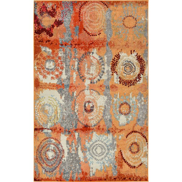 Hayes Orange Area Rug by World Menagerie