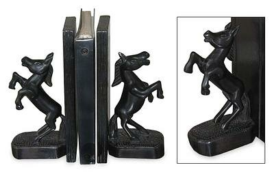Wild Horses Wood Bookends (Set of 2) by Bloomsbury Market