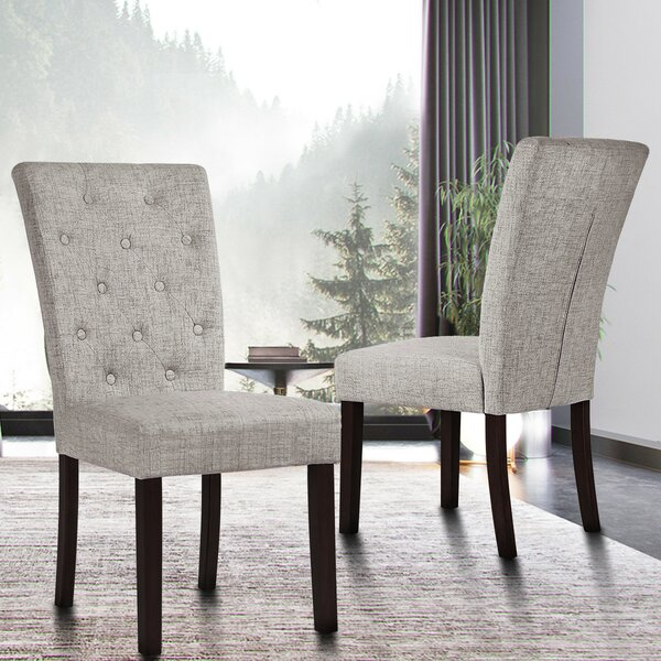 Eugenia Tufted Linen Upholstered Parsons Chair In Gray (Set Of 2) By Red Barrel Studio