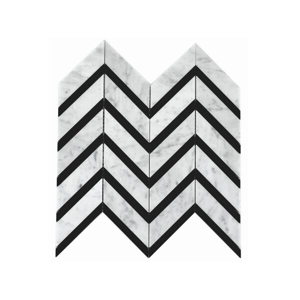 Celine Random Sized Marble Mosaic Tile in White/Black by A Touch of Design