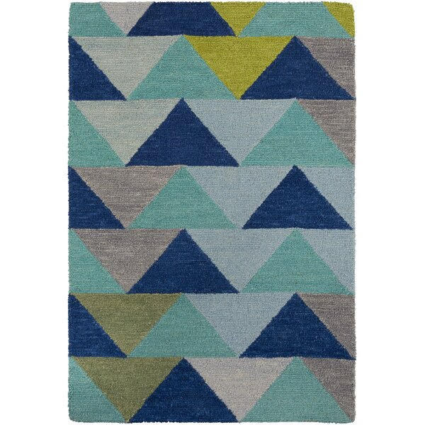 Villa Handmade Blue/Lime/Gray Area Rug by Zipcode Design