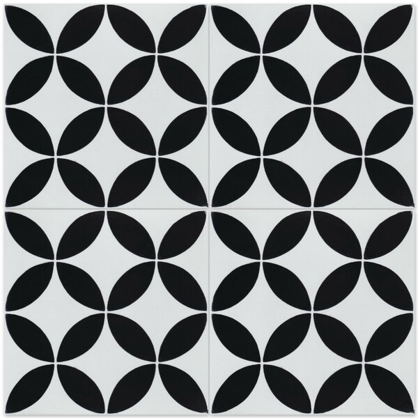 Circulos B Morning 8 x 8 Cement Field Tile in Black/White by Villa Lagoon Tile