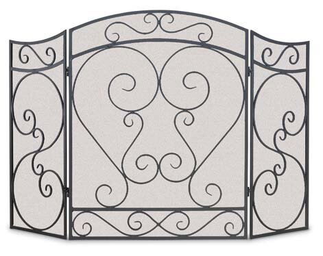 Country Scroll 3 Panel Steel Fireplace Screen By Pilgrim Hearth