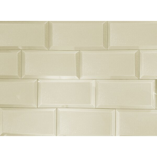 Frosted Elegance 3 x 6 Glass Subway Tile in Glossy Creme by Abolos