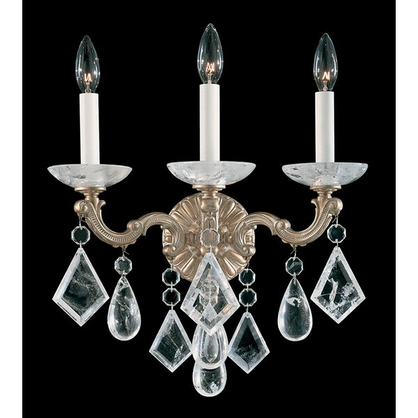 La Scala Rock Crystal 3-Light Candle Wall Light by Schonbek