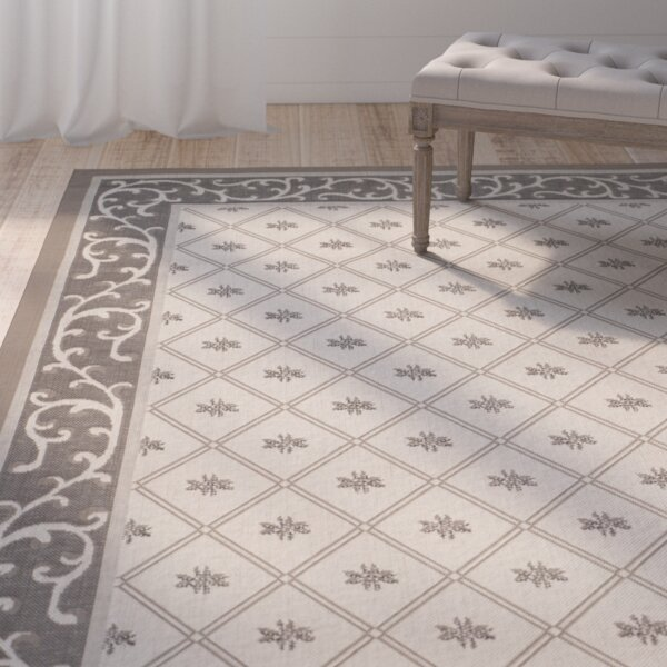 Rubin Beige/Dark Indoor/Outdoor Area Rug by One Allium Way