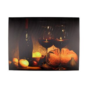 '2 LED Wine Glass and Bottle Scene' Photographic Print on Canvas by Winston Porter