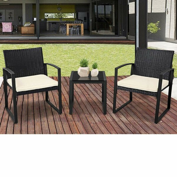 Jipson Outdoor 3-Piece Wicker Seating Group with Cushions by Ebern Designs