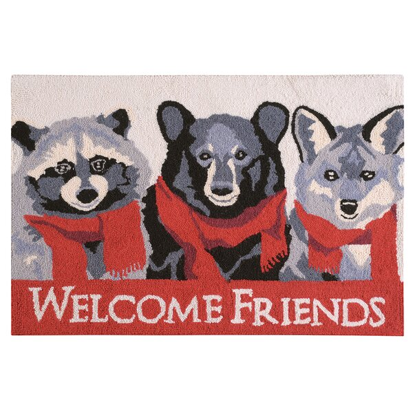 Welcome Friends Lodge Wool Red Area Rug by The Hol