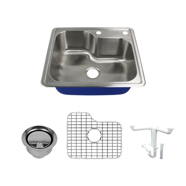 Meridian 25 L x 22 W Drop-In Kitchen Sink with Sink Grid and Drain Assembly by Transolid