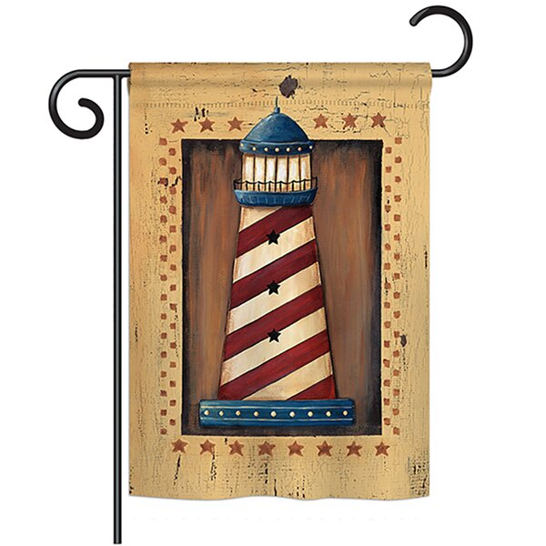 Patriotic Lighthouse Coastal 2-Sided Polyester Garden Flag by Breeze Decor