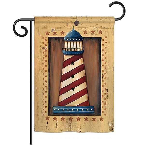 Patriotic Lighthouse Coastal 2-Sided Polyester Garden Flag by Breeze Decor