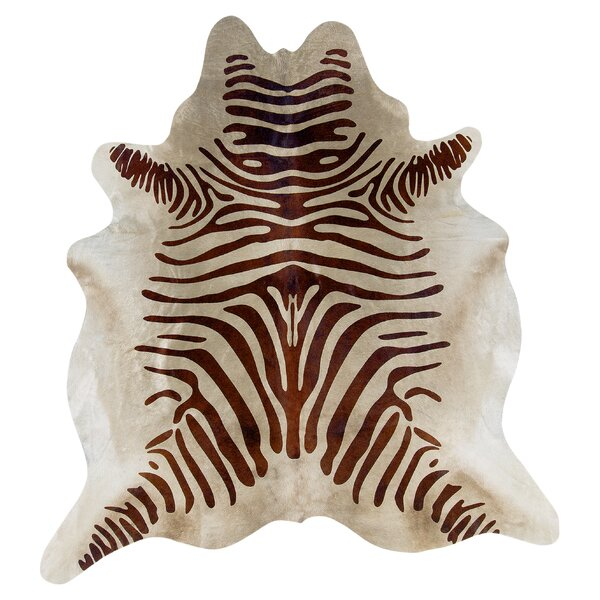 Lahti Zebra Cowhide Beige Area Rug by World Menagerie