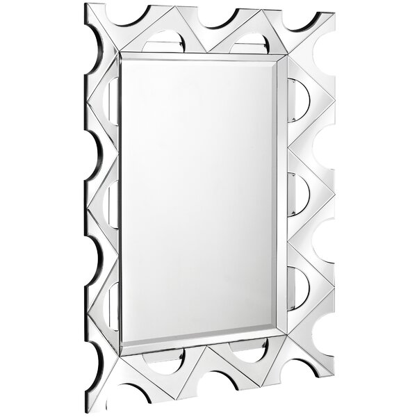 Unique Contemporary Wood Framed Rectangular Beveled Glass Hanging Wall Mirror by Majestic Mirror