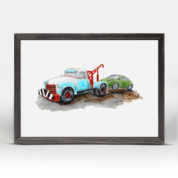 Kelvin Tow Truck Mini Framed Canvas Art by Harriet Bee