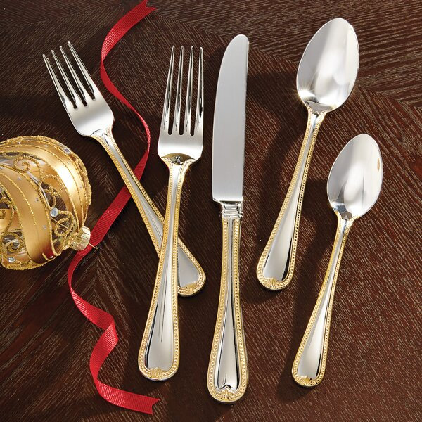 Vintage Jewel Gold 5 Piece Flatware Set by Lenox
