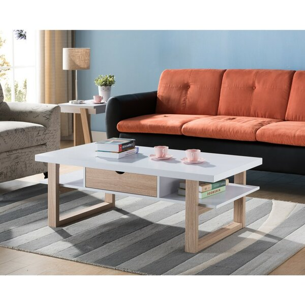 Mccollum Two-Tone Wooden Coffee Table with Storage by Ebern Designs