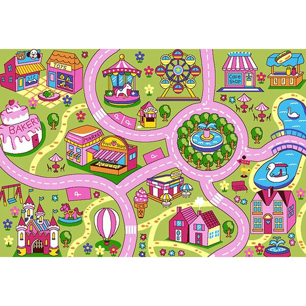 Haberman Fun Land Children Pink/Green Area Rug by Zoomie Kids