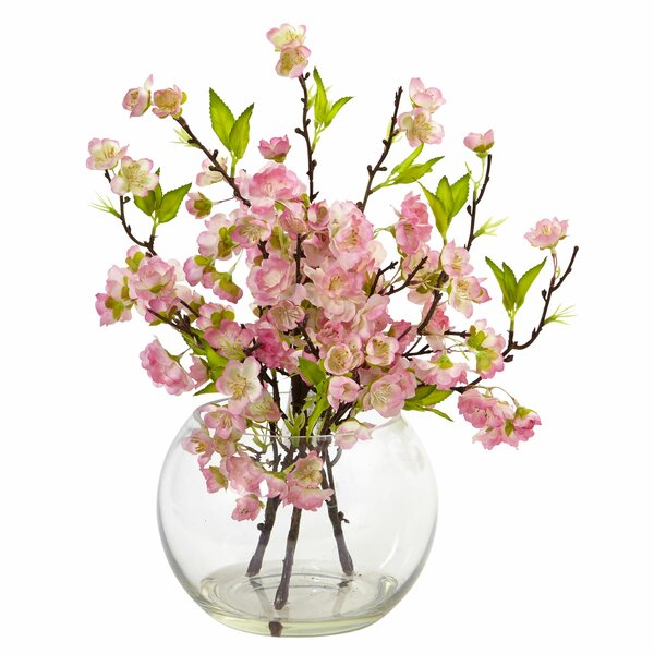 Cherry Blossom Floral Arrangement in Decorative Vase by Nearly Natural