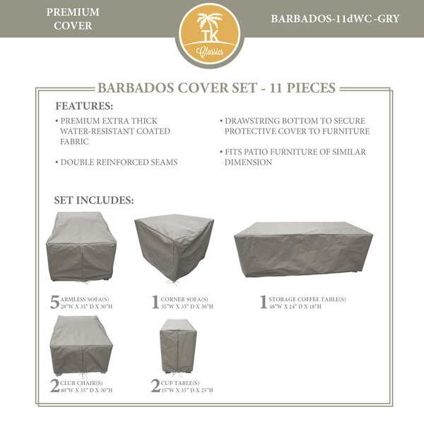 Barbados 11 Piece Water Resistant Sofa Cover Set by TK Classics