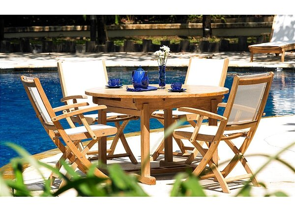 Riviera 5 Piece Teak Dining Set by Three Birds Casual