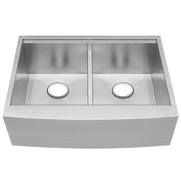 Bryce Series Curved 30 L x 22 W Double Basin Apron Kitchen Sink by Ticor Sinks