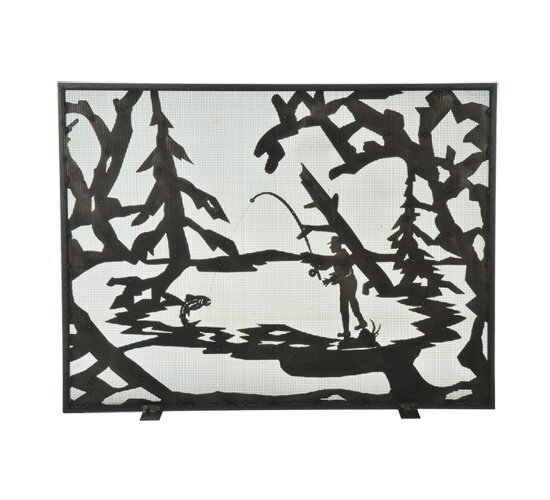 Fly Fishing Creek Single Panel Fireplace Screen by Meyda Tiffany