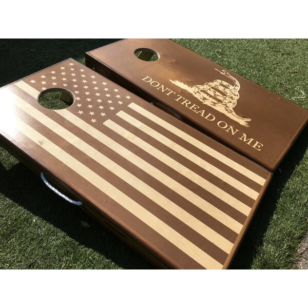 Stained American Flag and Dont Tread on Me 10 Piece Cornhole Set by West Georgia Cornhole
