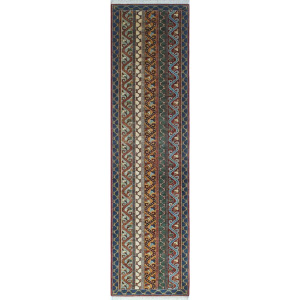 One-of-a-Kind Trevor Tarik Hand-Knotted Wool Blue Area Rug by Bloomsbury Market